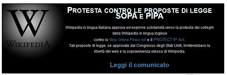 """avviso della """"protesta"""" su wikipedia inglese"""